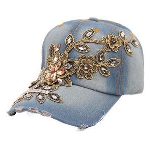 Accessories - Rhinestone Floral Denim Baseball Cap